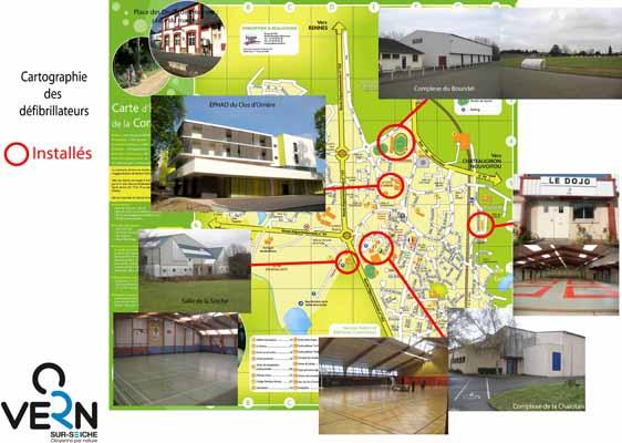 Lieux d'implantation des défibrillateurs sur Vern-sur-Seiche