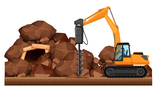 Drilling tractor working in the mine - Drilling tractor working in the mine illustration